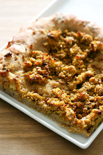 pizza de tempeh al curry
