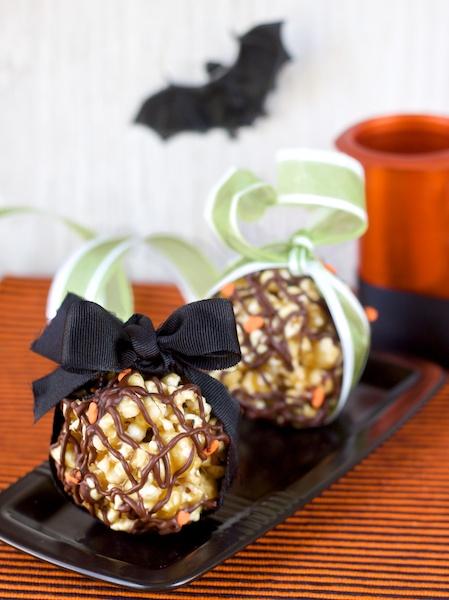 bolitas veganas de palomitas y toffee de chocolate