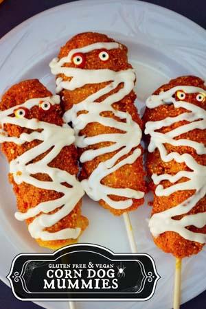 Gluten free & vegan corn dog mummies by Forks&Beans