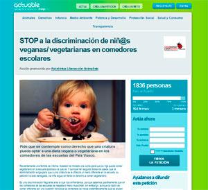 Petición STOP a la discriminación de niñ@s veganas/ vegetarianas en comedores escolares