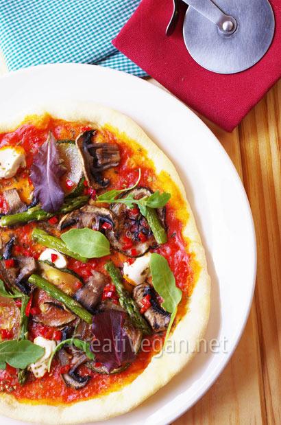 Pizza vegana a la sartén