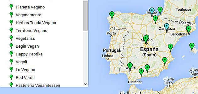 Mapa de tiendas veganas en España