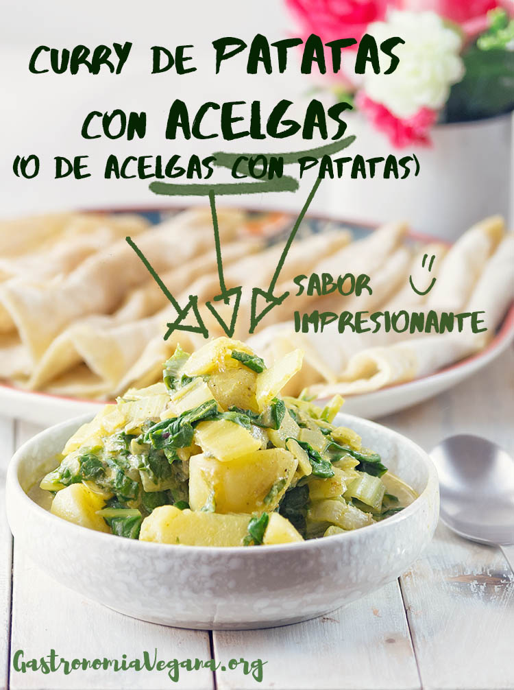 Curry de patatas con acelgas - tutorial Cómo cocinar con acelgas - gastronomiavegana.org