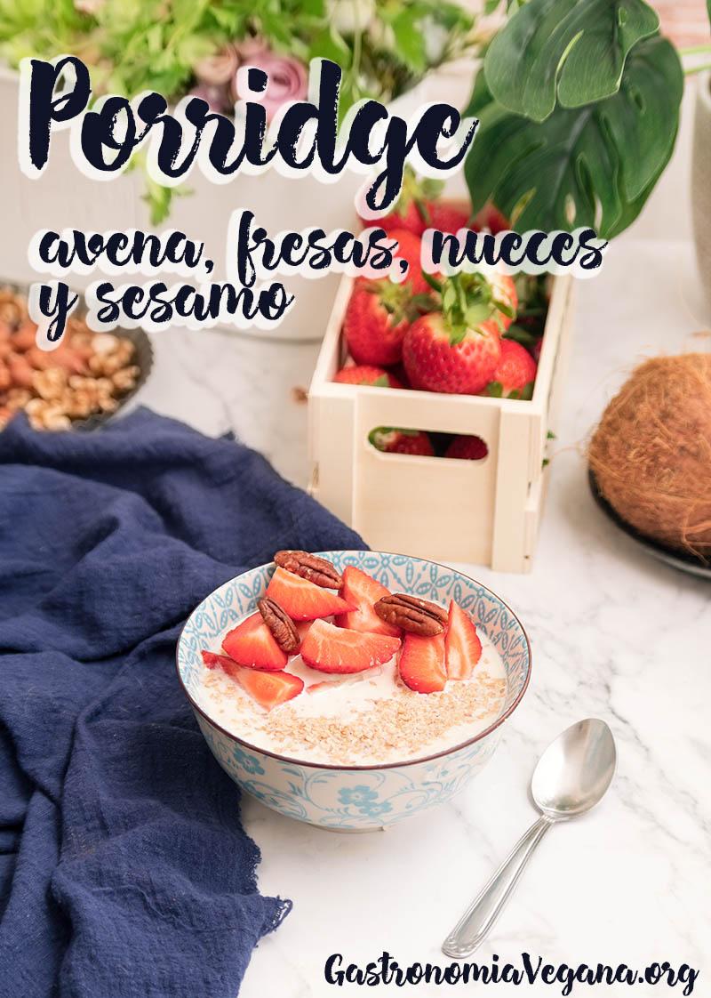 Porridge de fresas - GastronomiaVegana.org