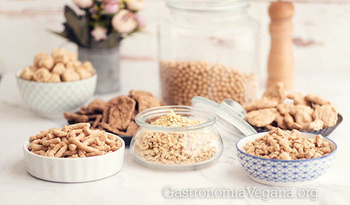 Diferentes tipos de soja texturizada