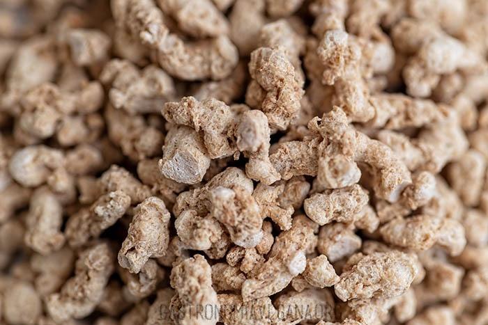 Proteína de girasol texturizada - macro - Gastronomía Vegana